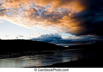 Yukon River at Dusk - Yukon River at dusk at Dawson City,...