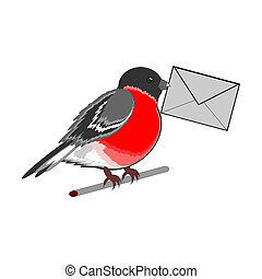 A funny bullfinch with a letter in his beak Vector-art...