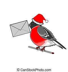 A Christmas bullfinch with a letter in his beak. Vector-art...