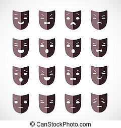 theater mask - Set of theater masks for drama and humor...