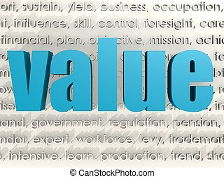 Value word cloud - Hi-res original 3d rendered computer...