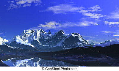 Sunny day in the mountains - Clear blue sky and sparse white...
