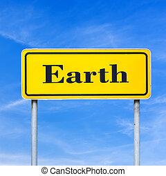 tierra, escrito, camino, señal