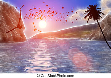 Flying seagulls over the sea at sunset
