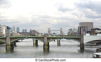 River Thames, London - Panoramic view of river Thames in...