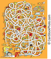 Travel Maze Game. Solution in hidden layer! Illustration is...