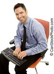 Businessman in a suit and a tie smiles