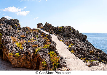 Beautiful seascape - Rocky coastline on the island of Crete...
