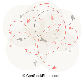 circles with gray and red arrows symbolizing dynamics