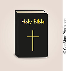holy bible book with golden text and cross