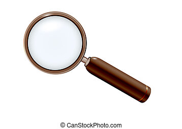 magnifying glass in elegant modern wooden style on white...