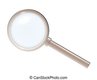 magnifying glass in plastic or metal style on white...