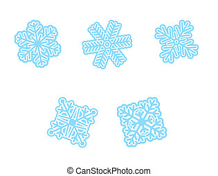 snow flakes - five different snow flakes in blue cold color