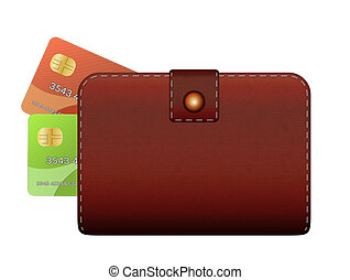 wallet and credit card - closed wallet and two credit cards...