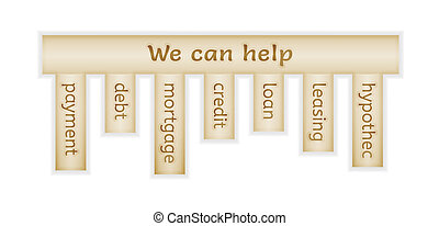 wooden label with we can help and choices on white...