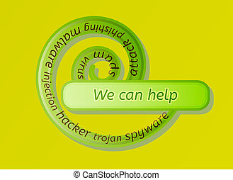green spiral label with we can help and options on white...