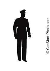 police man silhouette - policeman in silhouette over white