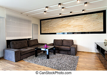 Urban apartment - Travertine in living room - Urban...
