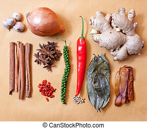 asia tropical spice herb vegetable garlic,cinnamon stick...