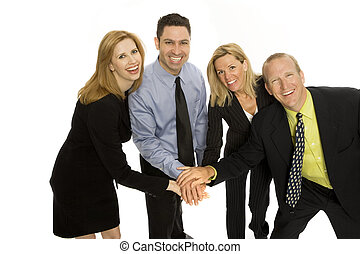 Business people gesture teamwork - Four business people...