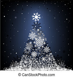 snow fir-tree - The Cristmas snow fir on the dark blue mesh...