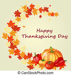 Thanksgiving Day background with maple leaves All objects...