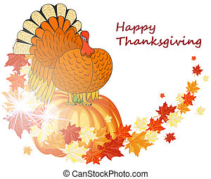 Thanksgiving Day background with maple leaves. All objects...