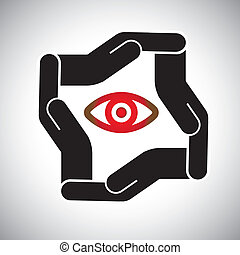 protection or safety of eye and sight concept vector