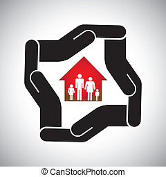 protection or safety of house or home with family concept vector. The graphic also represents home insurance, asset protection, safe real estate business deals, personal & health insurance, etc