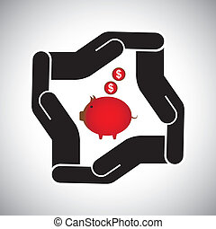 protection or safety of money, saving dollar concept vector