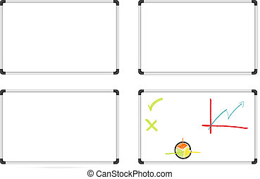 Whiteboards set - Isolated set of whiteboards - one plain,...