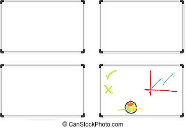 Whiteboards set - Isolated set of whiteboards - one plain,...