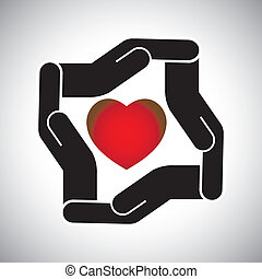 protection or safety of human heart concept vector