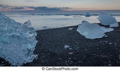 blue icebergs and beach - Time lapse of blue icebergs...