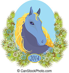 vector illustration of a horse Christmas