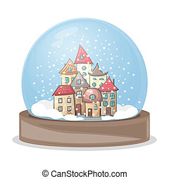 snow globe with a house - snow globe, snow-covered town...