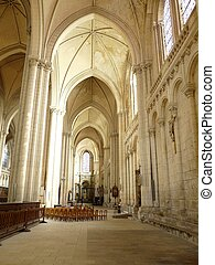 Church Interior - Arched interior of a church in Poitiers...