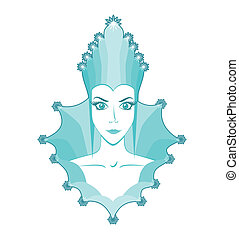 snow queen - Portrait of snow queen, cartoon woman, emblem...
