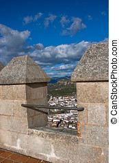 Battlements, La Mota castle.Alcala la Real, Spain