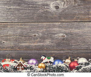 Vintage Christmas background with various colorful...