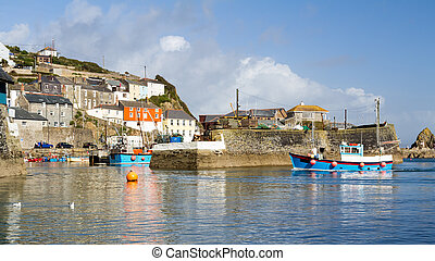 Mevagissey Cornwall England UK - Mevagissey Harbour on the...