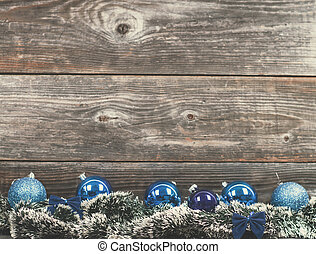 Vintage Christmas tree with baubles on wood texture
