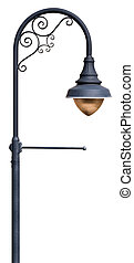 Lamppost - A post supporting a street lamp, with decorative...