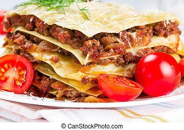 Italian dish lasagna - Italian dish lasagna with meat and...