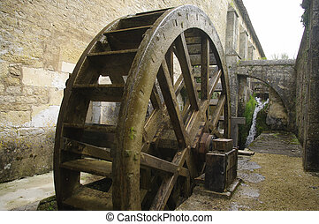 Waterwheel - Huge impeller immersed in a river diversion...