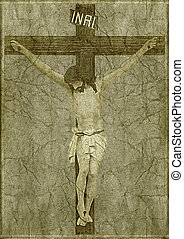 Jesus on the Cross - Photo collage of jesus on the cross in...