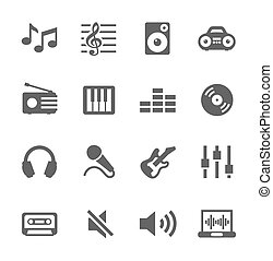 Music icons set. - Simple icon set related to Music. A set...