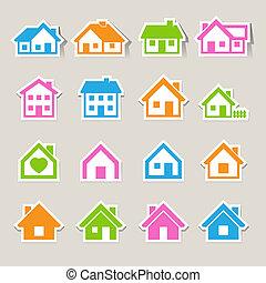 verdadero, Casas, Conjunto, iconos, propiedad