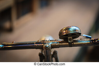 Vintage rusty handlebar of an old bicycle