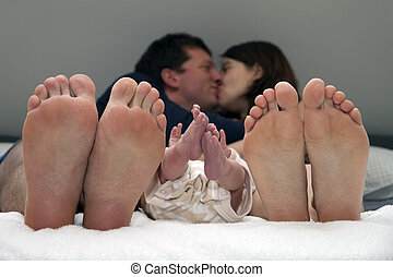 family happiness with newborn baby